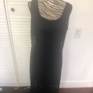 Macys Connected apparel black lace maxi dress
